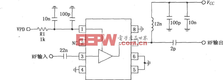 由RF2347构成的880MHz低噪声放大器应用电路