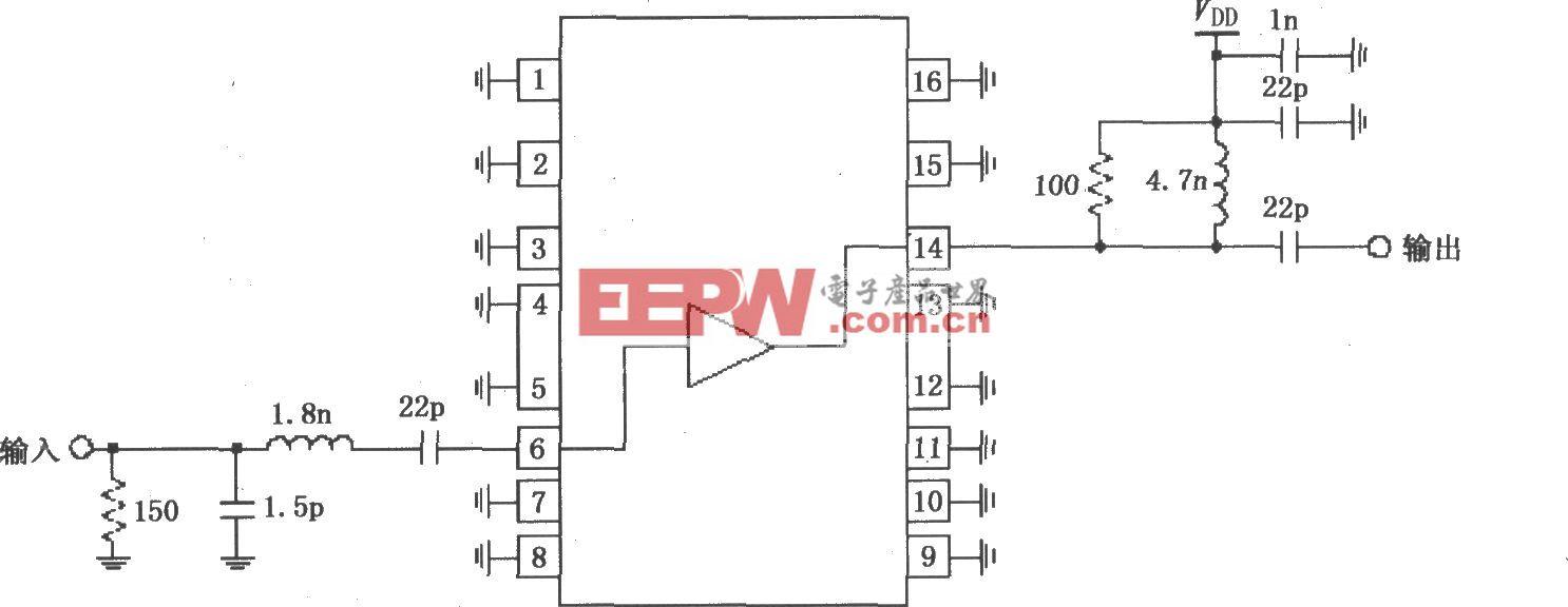 由RF2320构成的1930~1990MHz窄带线性放大电路