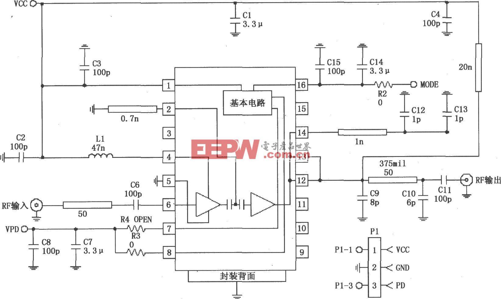 由RF2152構成的877~924MHz功率放大電路