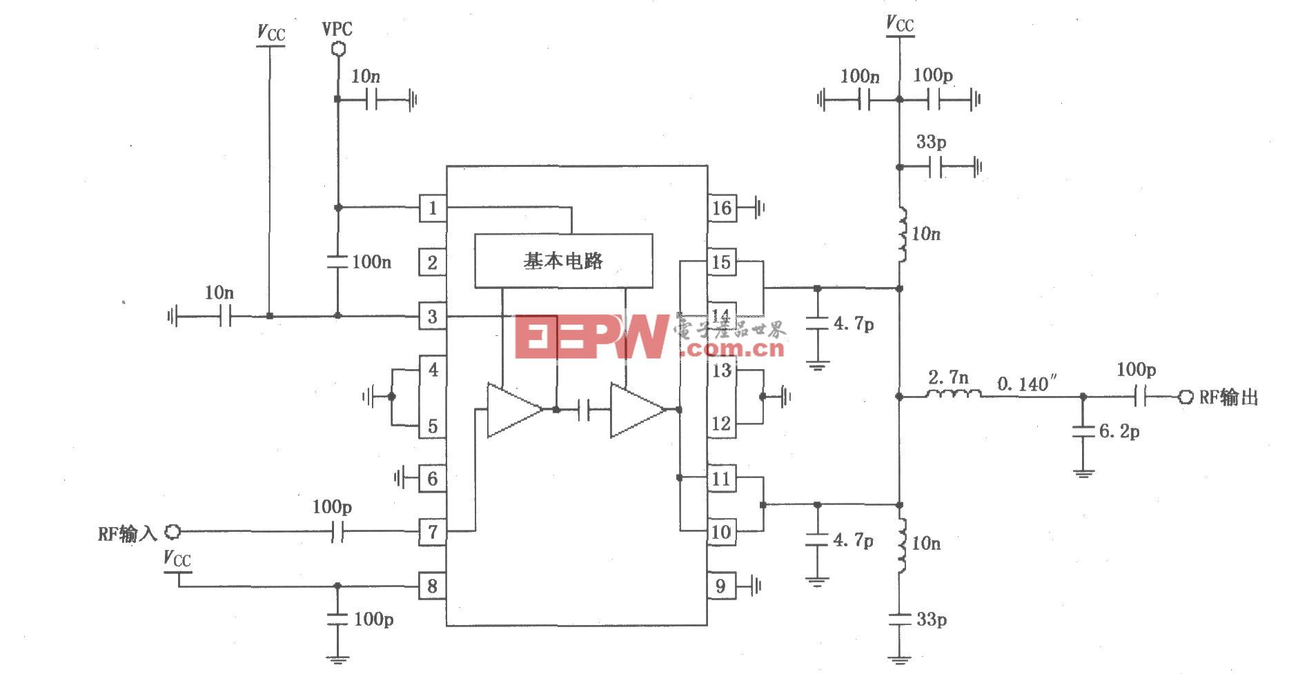 RF2131在4.0~4.8V电源供电时获得最佳功率和效率放大器电路