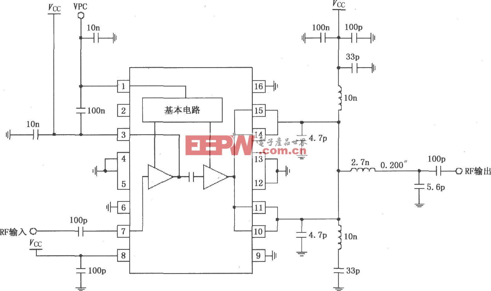 RF2131在4.8V电源供电时的最佳效率功率放大电路