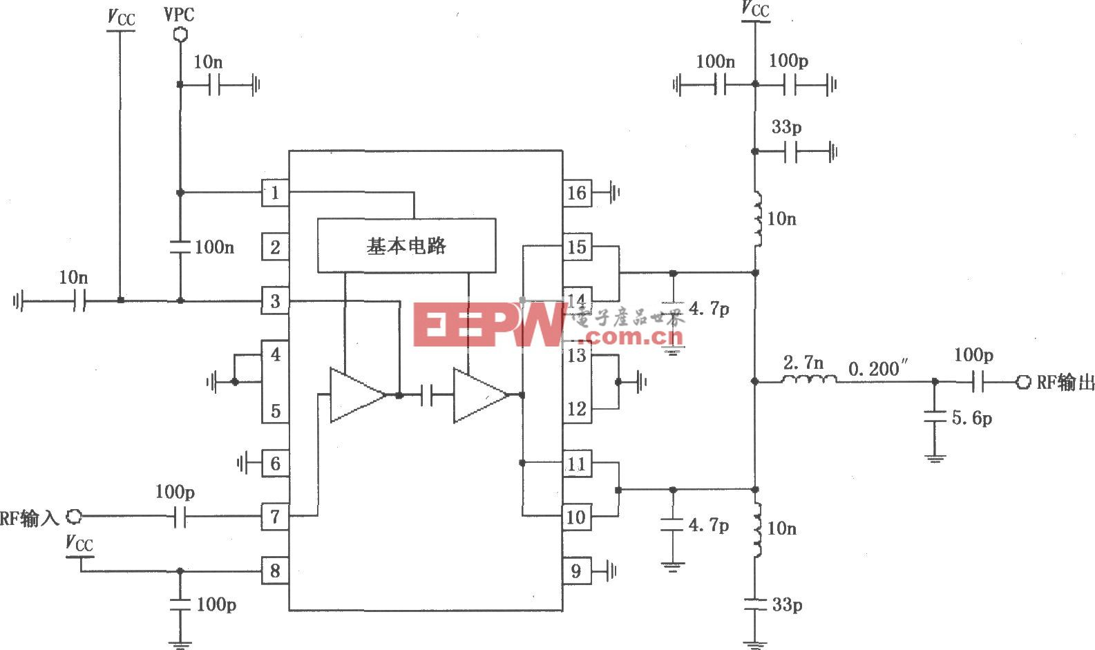 RF2131在4.8V電源供電時的最佳效率功率放大電路
