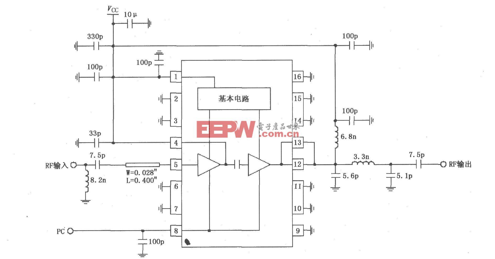 由RF2104构成的915MHz中功率放大器原理电路