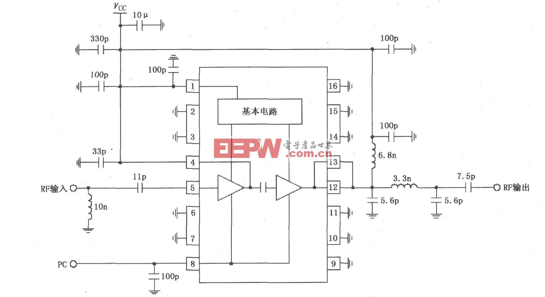 由RF2104构成的830MHz中功率放大器原理电路