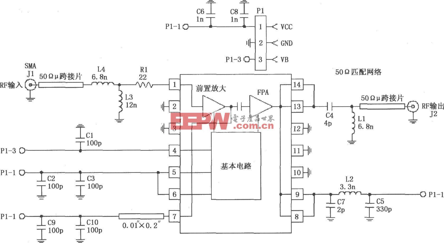 由RF2103P构成的915MHz射频放大器的电路