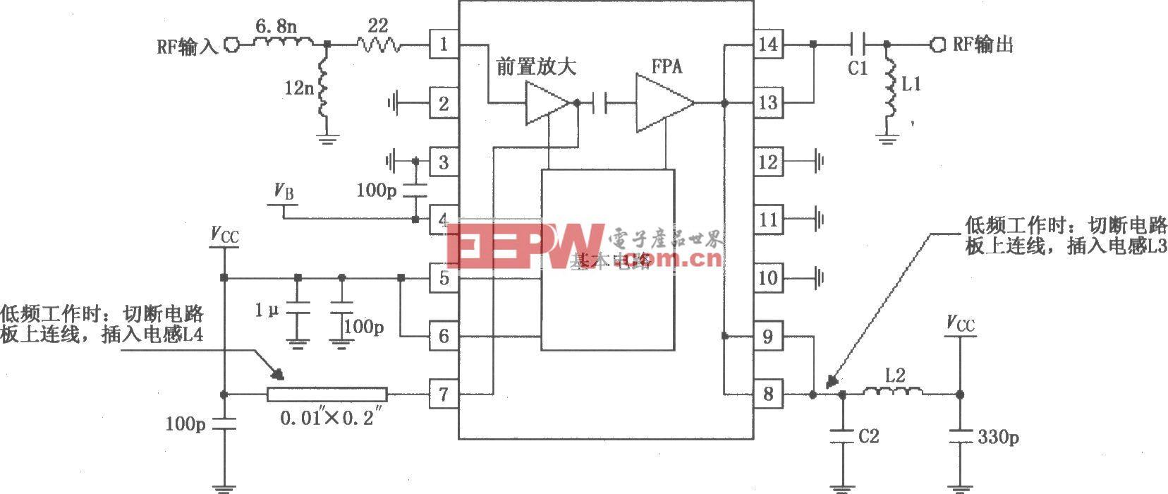 由RF2103P构成的射频放大器原理电路