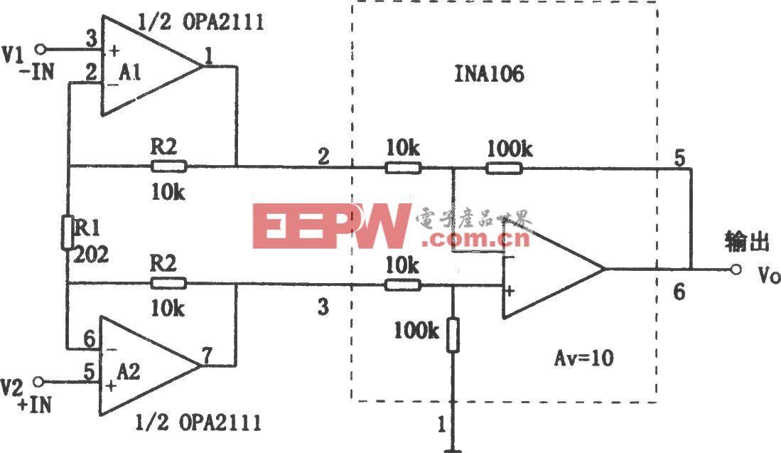 OPA2111构成的高精度、高阻抗的仪用放大器