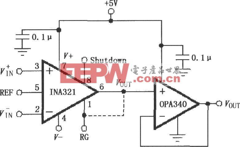 由OPA340构成的INA321/322输出缓冲电路
