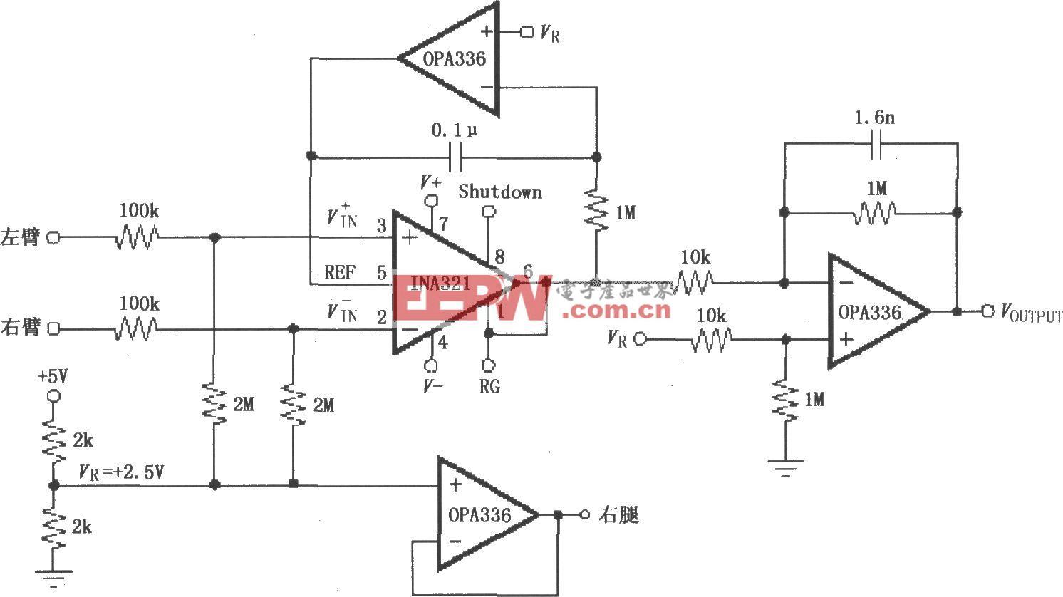 由INA321/322构成的低成本、精度适中的心电图机ECG放大电路