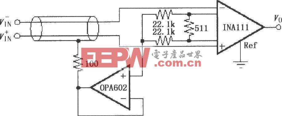INA111构成的屏蔽驱动电路