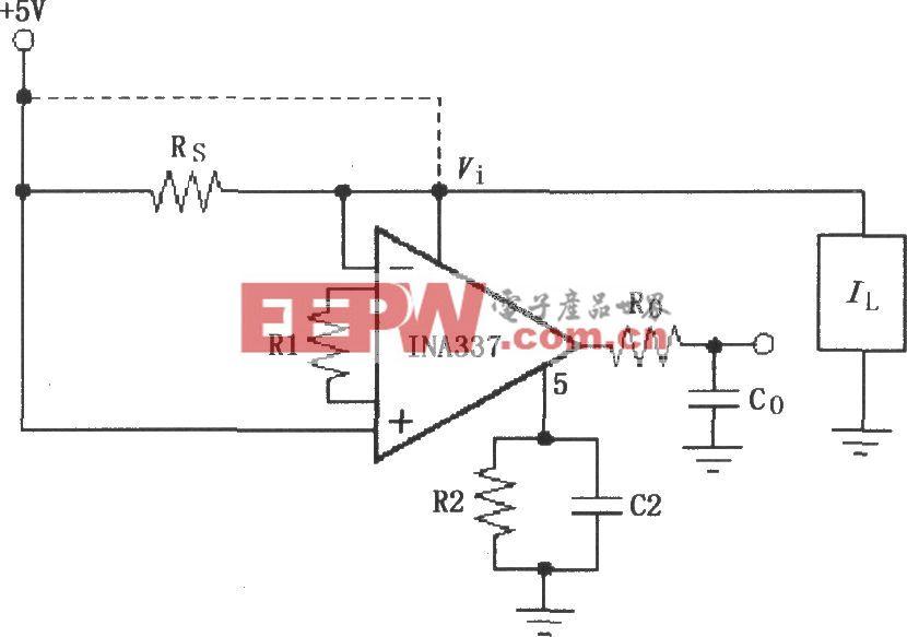 由INA337构成的负载电流的高端分流测量电路