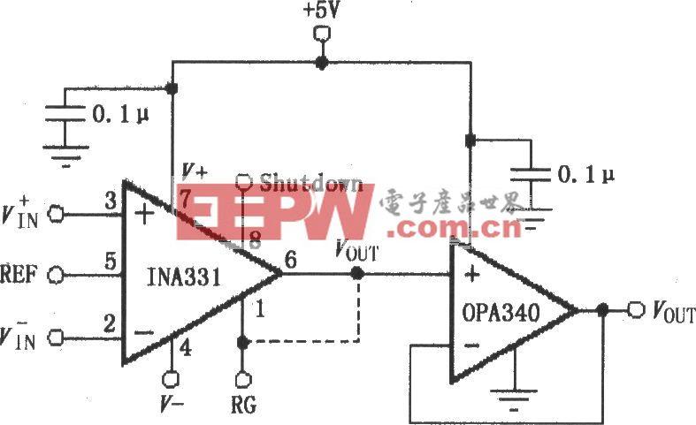 由OPA340构成的INA331/332输出缓冲电路