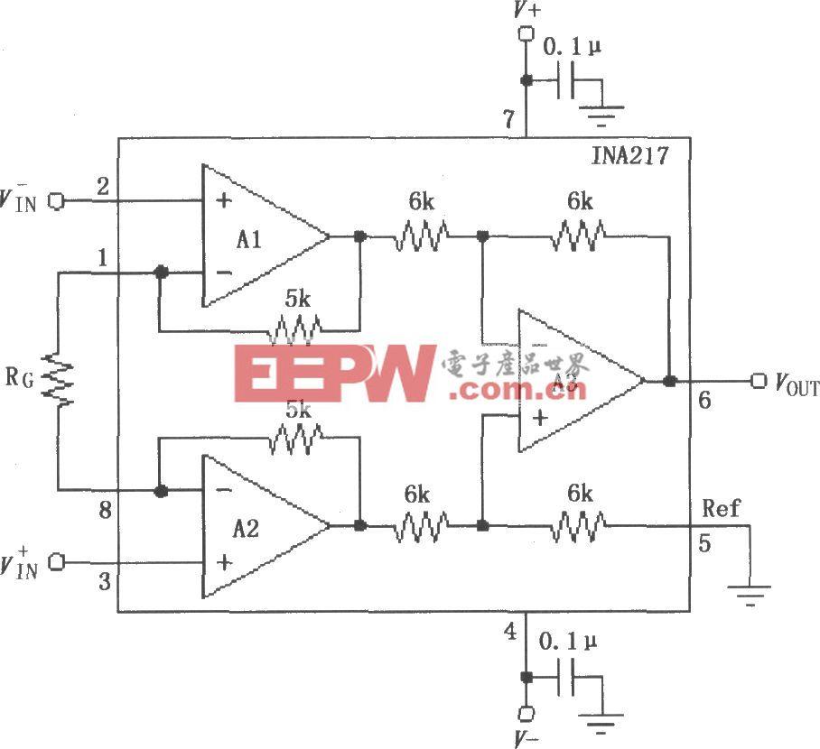 INA217信号和电源的基本连接电路