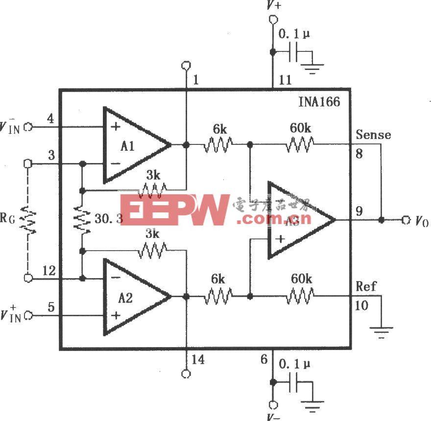 INA166的信号和电源的基本连接电路