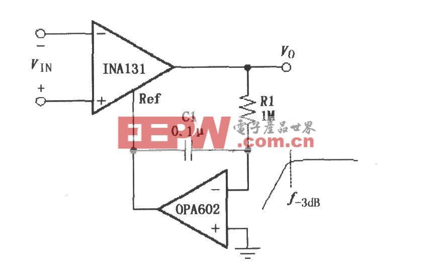由INA131构成的交流耦合仪表放大器