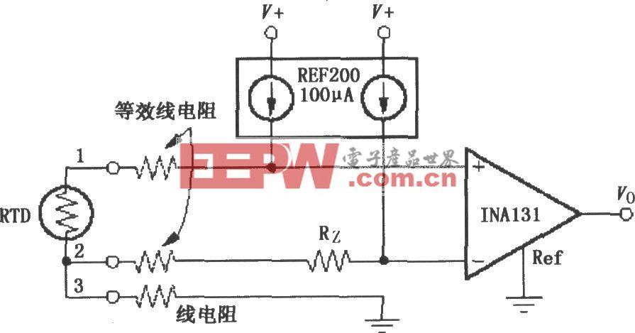 由INA131構成的RTD溫度測量電路