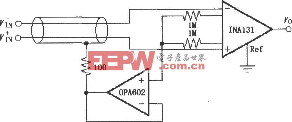 由INA131構成的屏蔽驅動電路