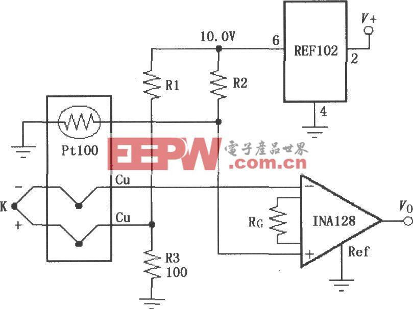 由INA128构成的有冷端补偿的热电偶放大器