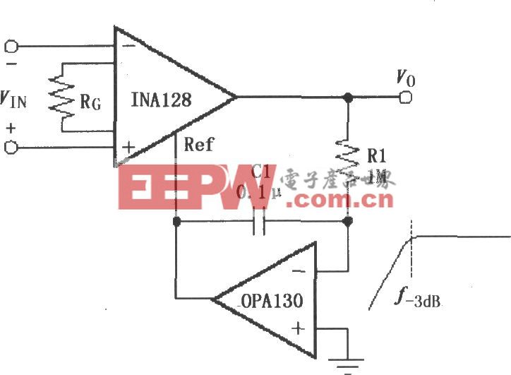 由INA128构成的交流耦合仪表放大器