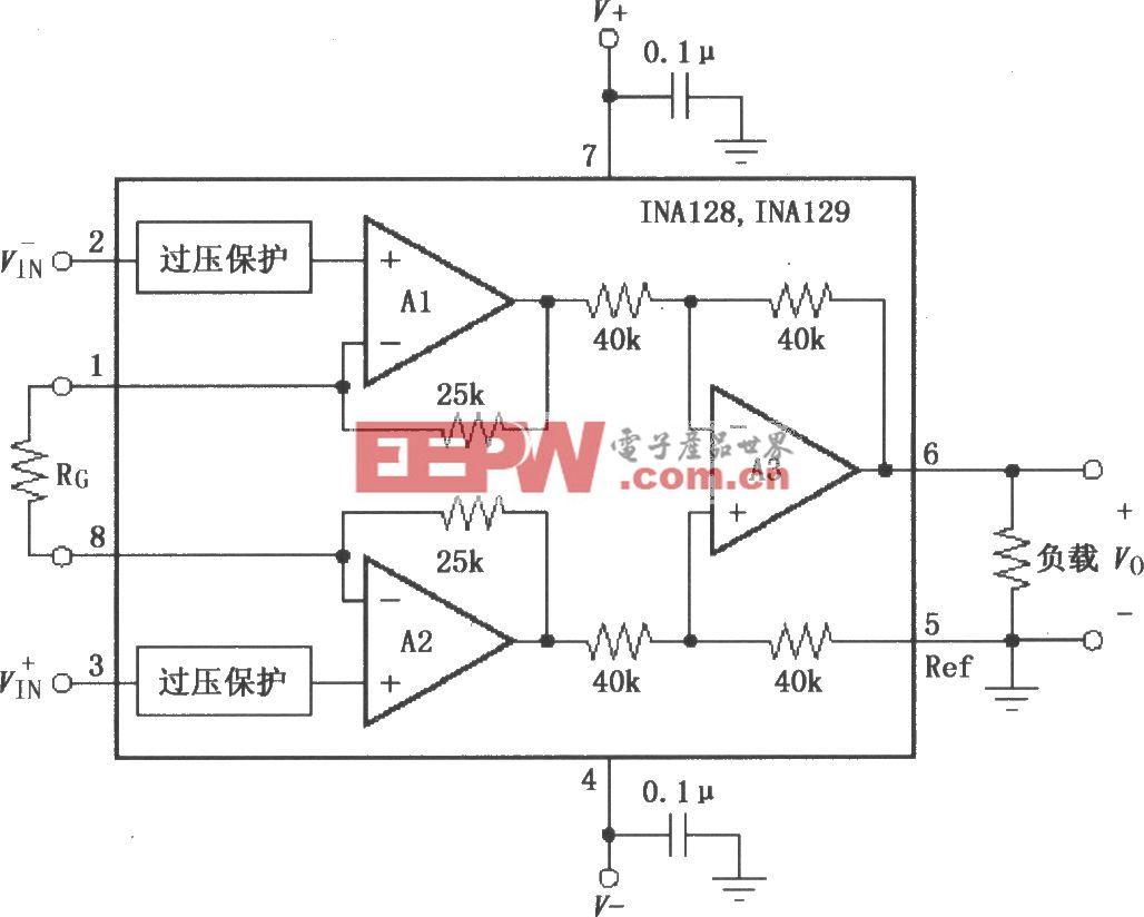 INA128/129的信号和电源的基本连接电路