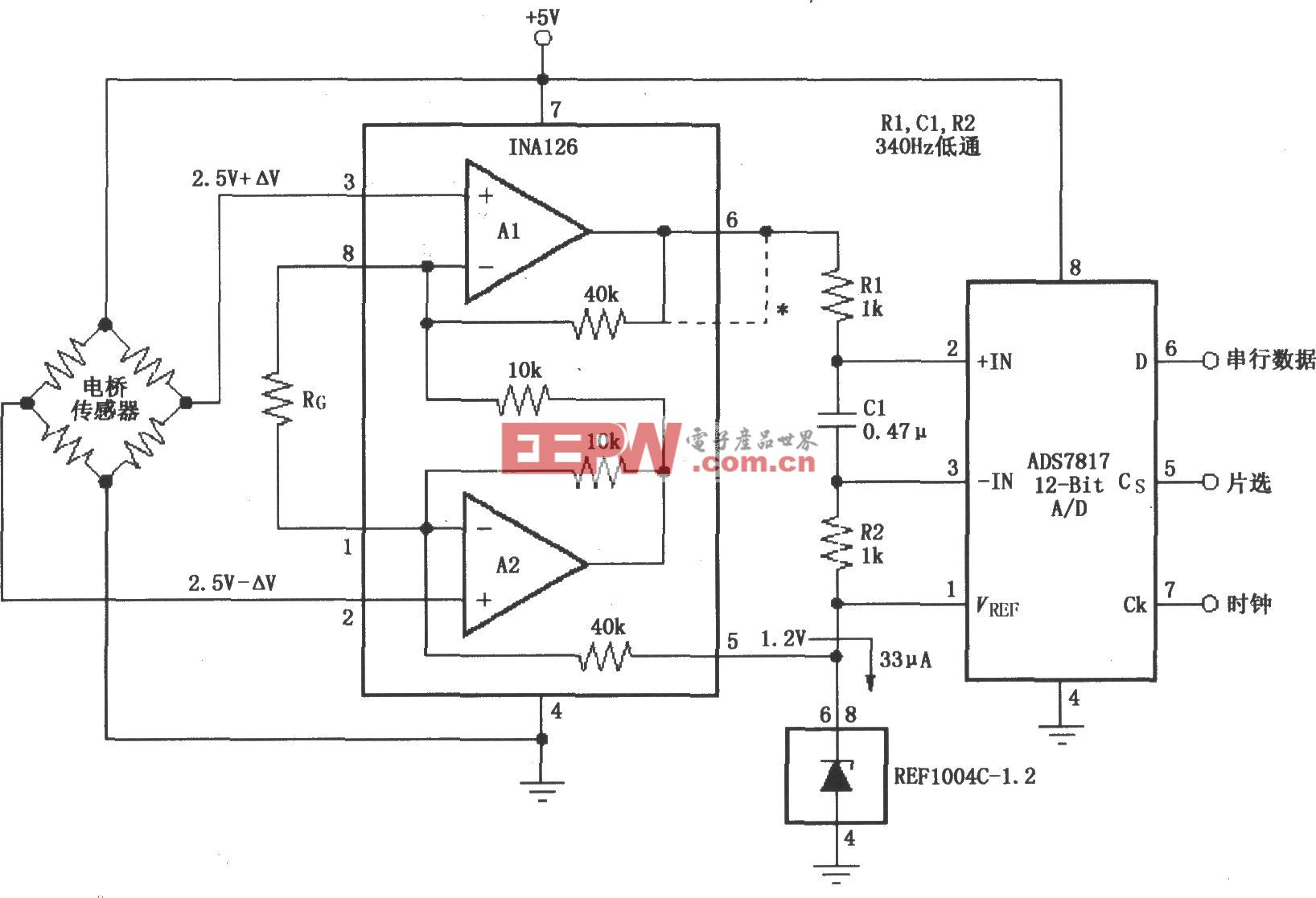 由INA126构成的 5V单电源电桥信号采集电路