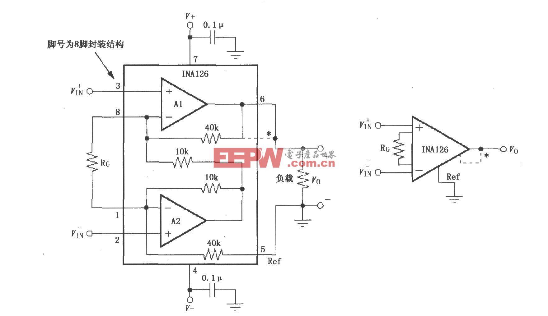 INA126信号和电源的基本连接电路