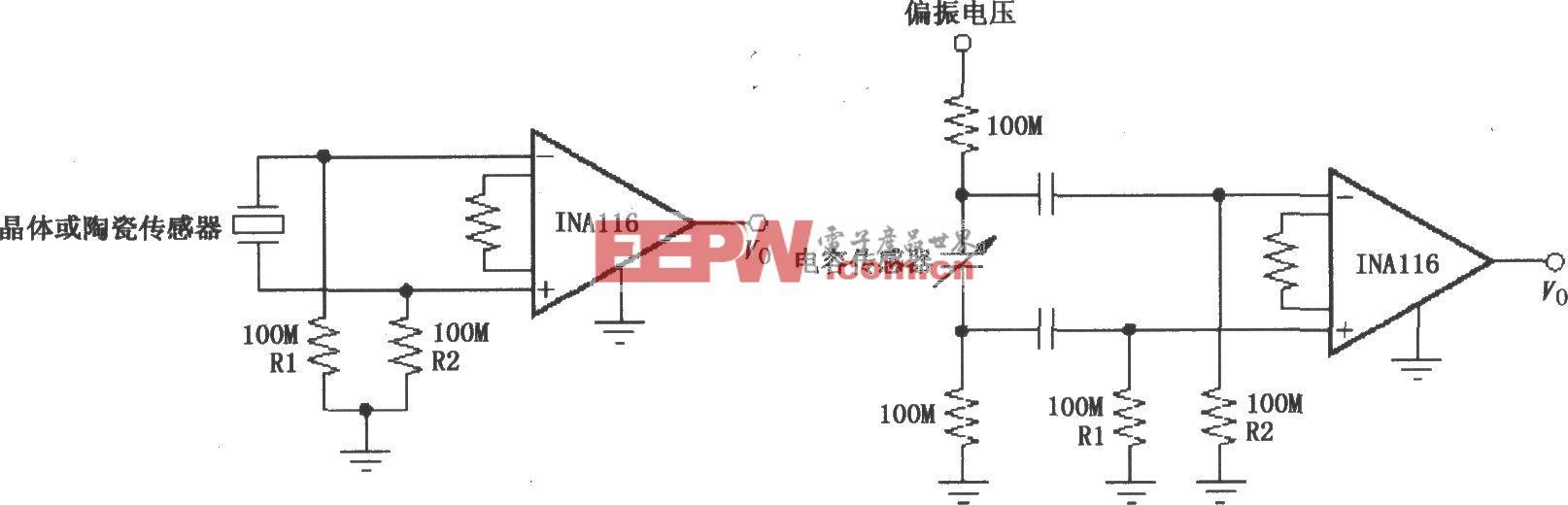 提供一个输入偏置电流通路电路(INA116)