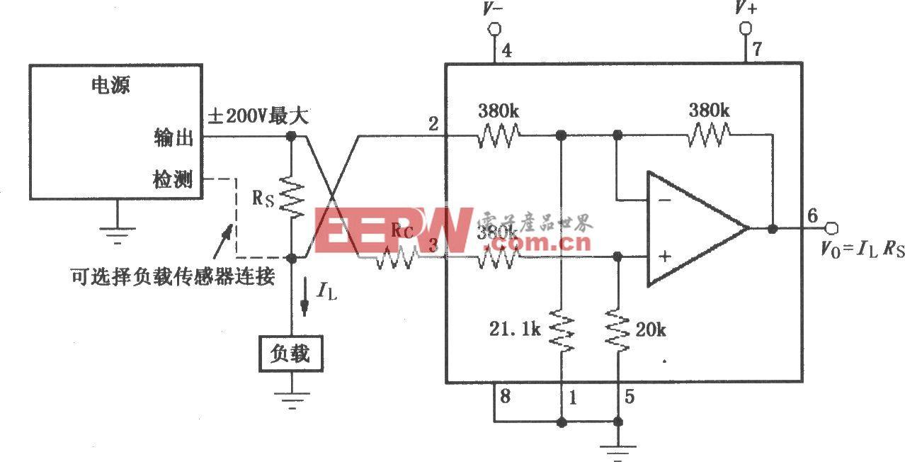 由INA117构成的测量电源输出电流电路