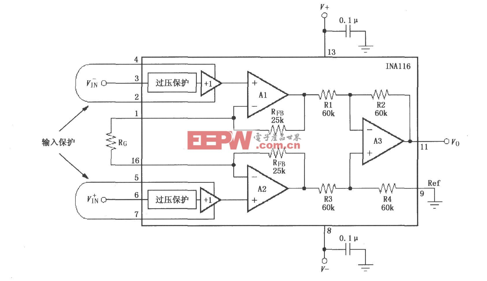INA116基本连接电路