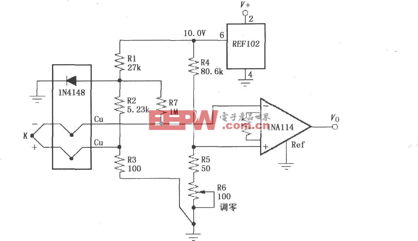 具有冷端补偿的热电偶放大电路(INA114)