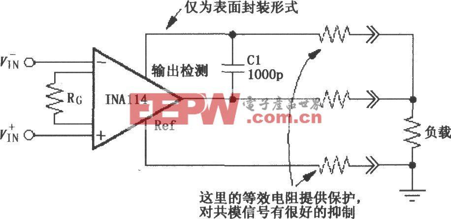INA114构成的远距离负载和地检测电路