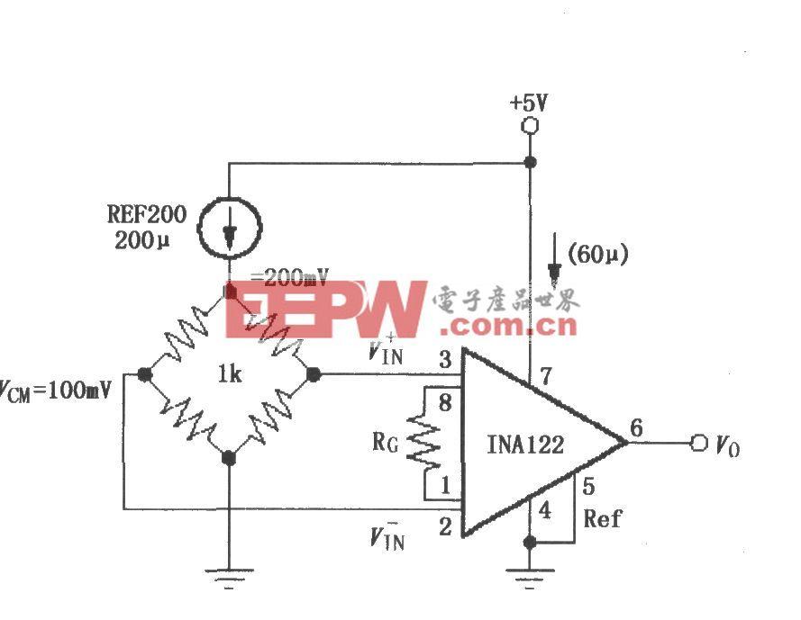 由INA122構成的單電源電流分流測量電路