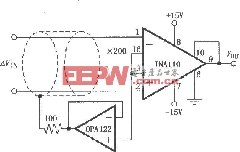 具有屏蔽驱动的仪表放大电路INA110