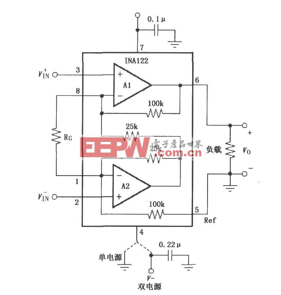 INA122的信號和電源的基本連接電路