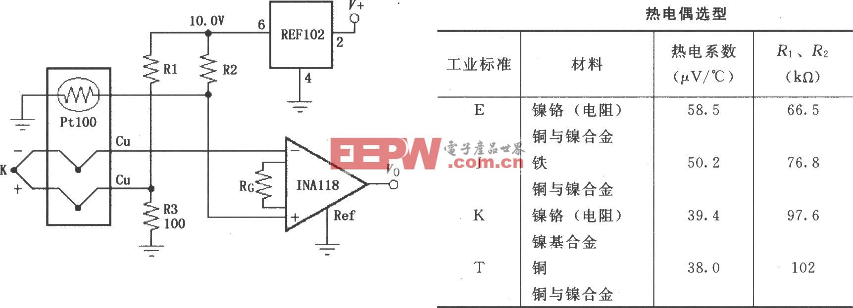由INA118構成的有冷端補償的熱電偶放大器