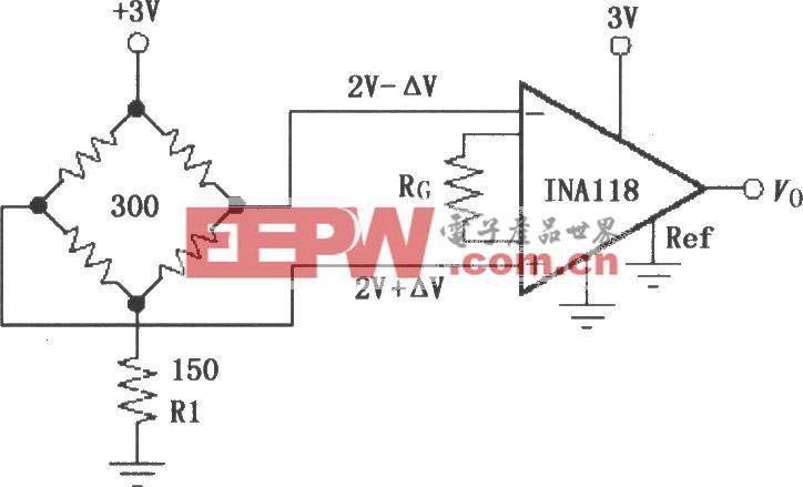 由INA118構成的單電源供電電橋放大器
