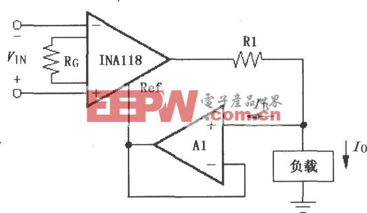 由INA118構成的差動電壓-電流變換器