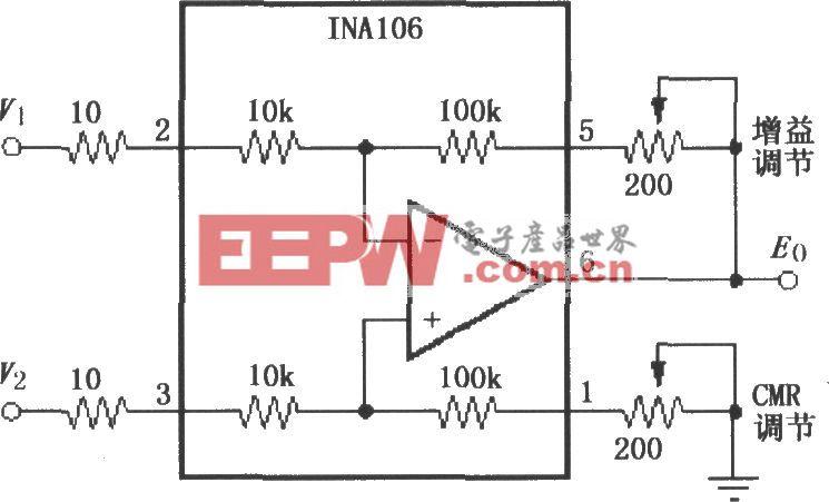 具有增益和共模抑制比可调的差分放大电路(INA106)