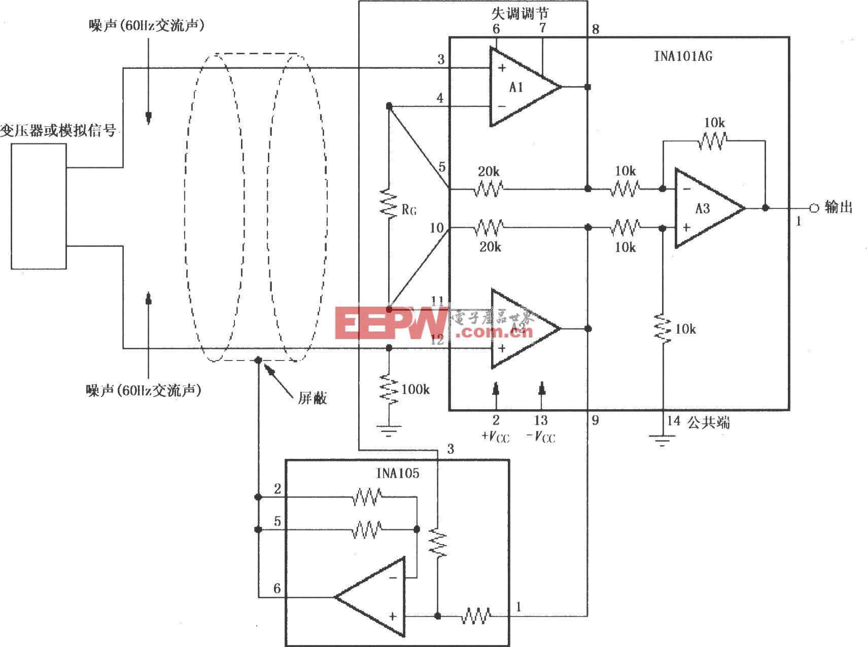 仪表放大器屏蔽层驱动产生器(INA105)