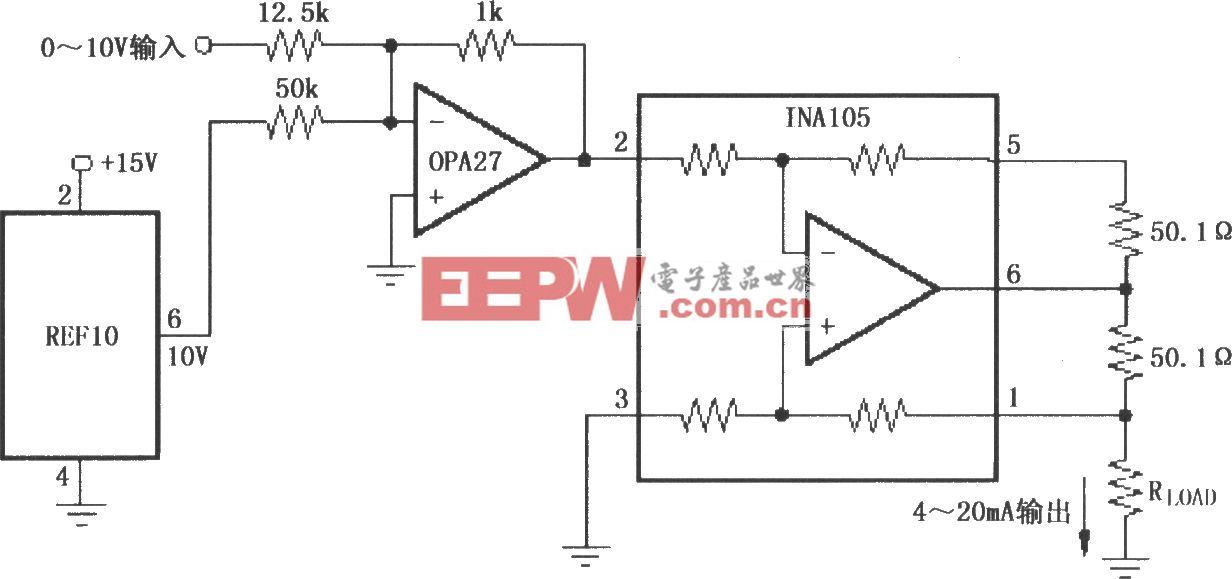 精密0~20mA电流变送器(INA105)