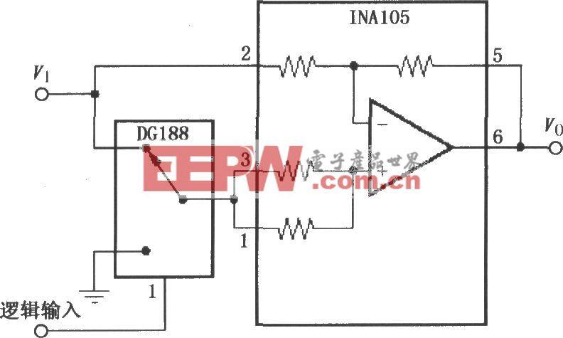 數控增益±1放大器(INA105)