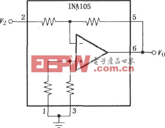精密单位增益反相放大电路(INA105)