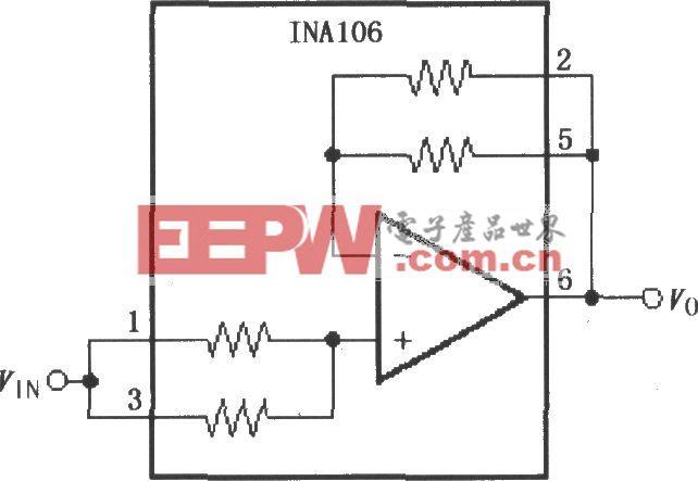 增益为11的精密缓冲电路(INA106)