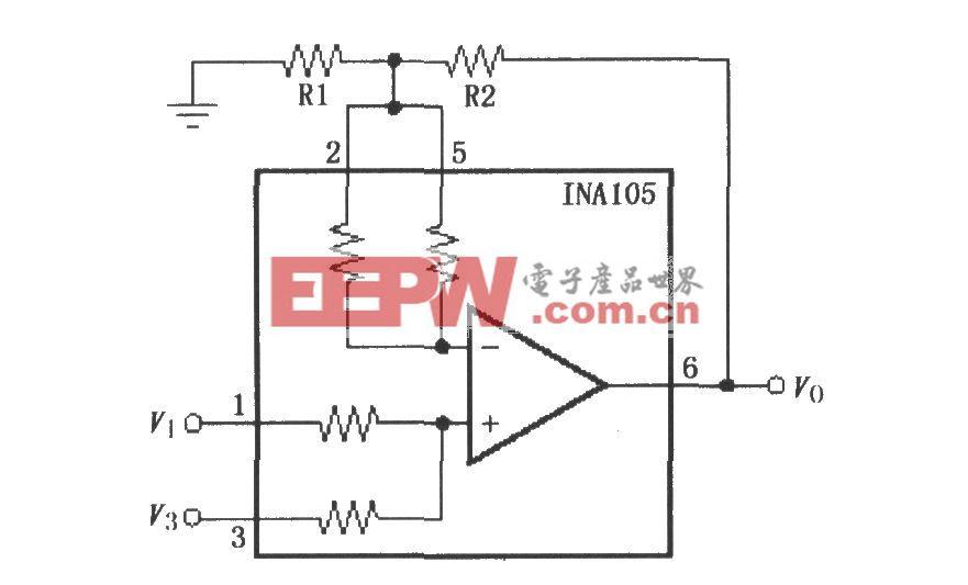 具有增益的精密加法放大电路(INA105)