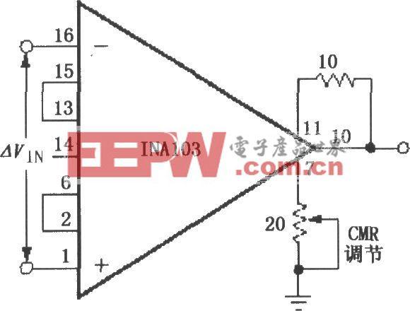 外部可调CMR(共模抑制比)电路(INA103)