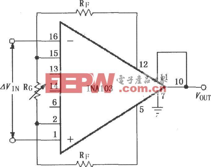 INA103用外部电阻设置增益放大器