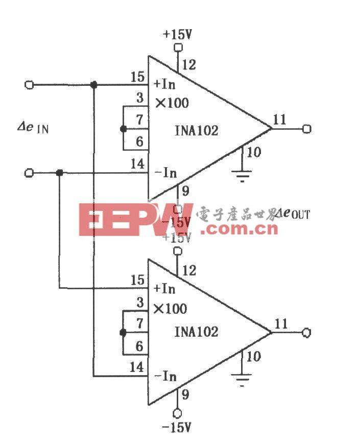 差动输入/差动输出放大器(INA102)