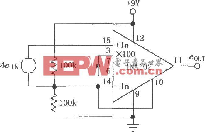 INA102的单电源低功率仪表放大器