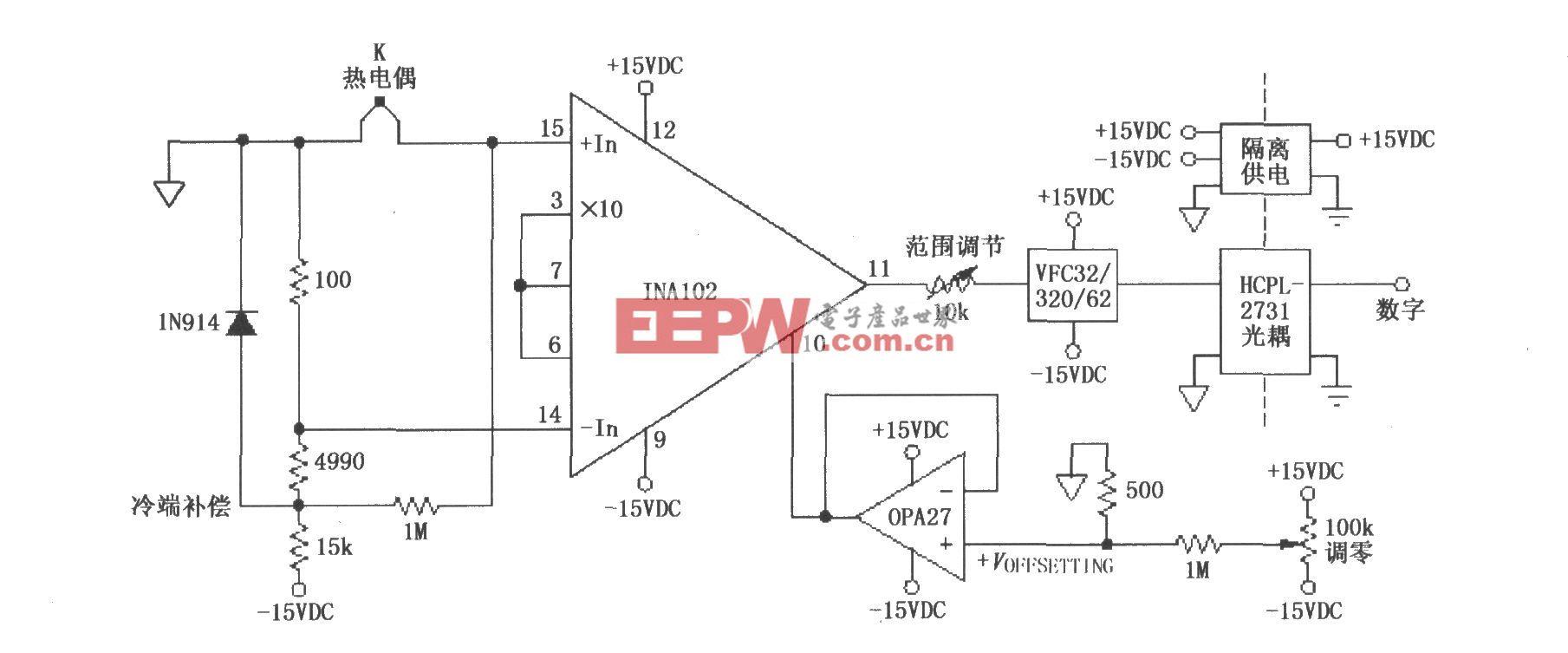 具有冷端补偿的隔离式热电偶放大器(INA102)