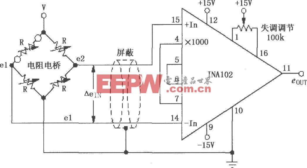 INA102电阻电桥差分放大器